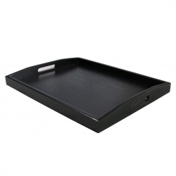 Serving Tray - Black Large Food Tray - Breakfast Tray  - Wood Butler Tray with Handle